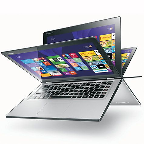 "Buy Lenovo Yoga 2 Convertible Ultrabook, Intel Core i3, 8GB RAM, 500GB + 8GB SSHD, 13.3"" Touch Screen, Silver Grey Online at johnlewis.com"