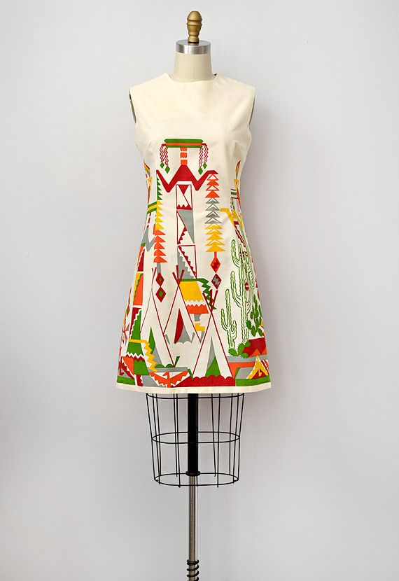 vintage 1960s mod tribal print dress. amazing dress. inspiration to screen print a white/cream a-line skirt?