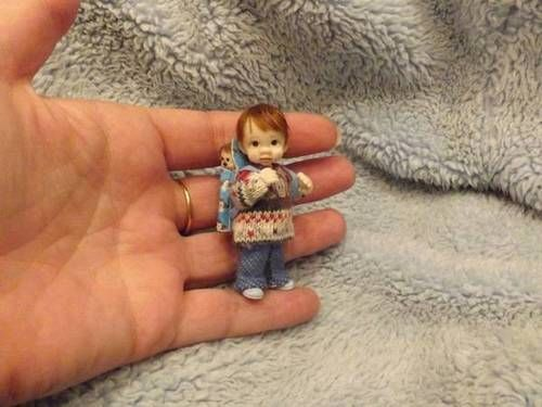 Miniature handmade MINI BABY BOY TODDLER ooak ART DOLL HOUSE DOLLHOUSE ARTIST