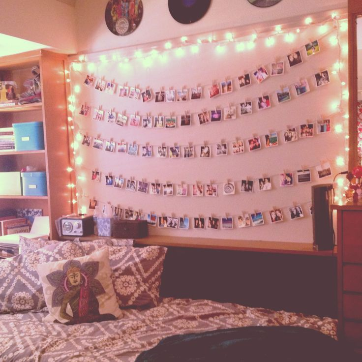 Photo wall + a string of lights for a Baylor dorm
