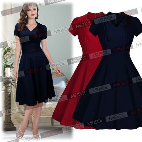 Womens-Classic-V-Neck-50s-Vintage-Party-Sexy-Pleated-Swing-Bridesmaid-Dresses