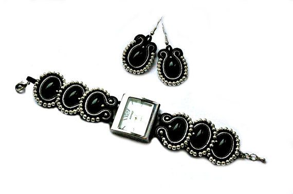 Soutache Watch and Earrings in black gray and by SoutacheByMolicka