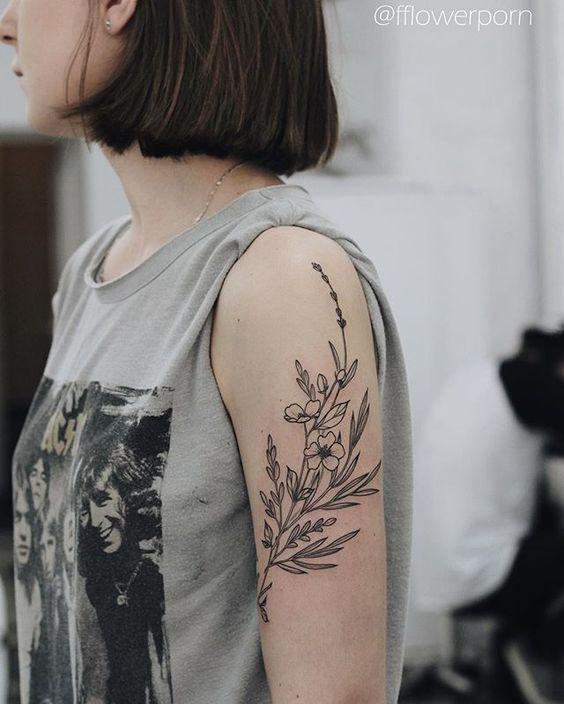 Wildflower tattoo, black