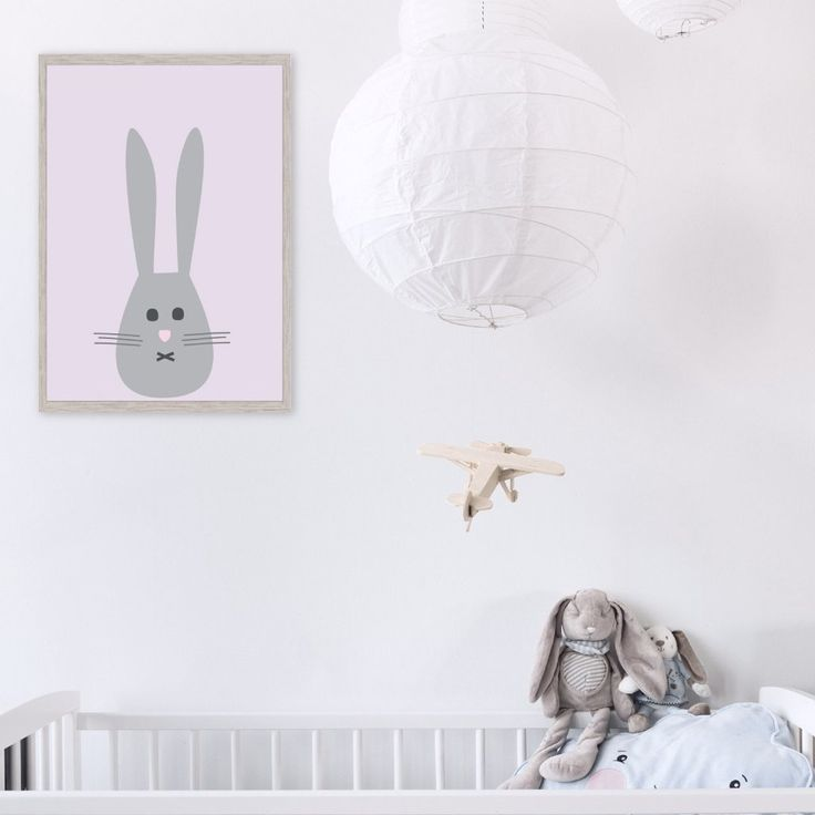 Mr Bunny pink kids wall art print poster - Makers Ink