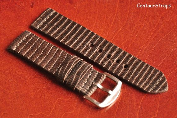 22mm exotic lizard leather watch band  Handmade by CentaurStraps