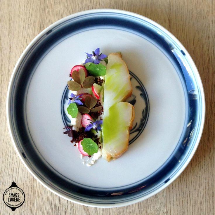 Hellefisk med rygeost. I denne udgave har jeg valgt at servere hellefisken med en rygeost med fennikel, fennikelolie, syltede radiser og rugbrødscrumble.