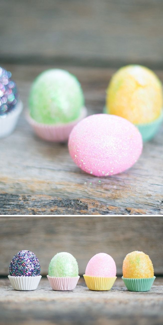 DIY Fuzzy Glitter Easter Eggs | HelloGlow.co