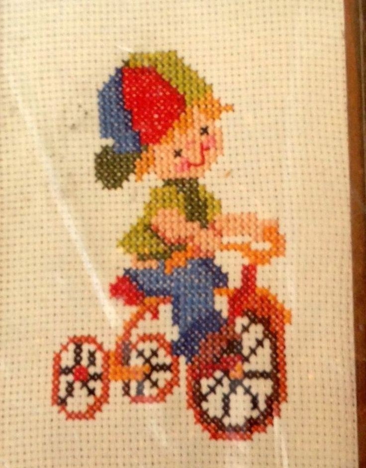 So Cute for Child's Room Cross Stitch Picture Kit BOY on  BIKE Bicycle COLORFUL  #Bucilla