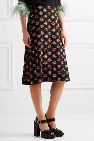 Prada - Printed Crepe Skirt - Black - IT50