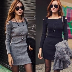 Women Sexy Open Shoulder Long Sleeve BodyCon Slim Party Pinup Evening Mini Dress Prom Dress Party Dress