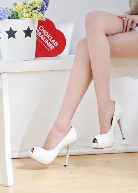 Fish Mouth High Heels Sandals White
