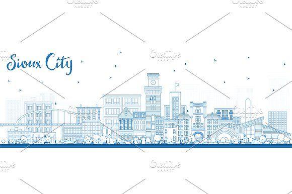 #Outline #Sioux #City #Iowa #Skyline by Igor Sorokin on @creativemarket