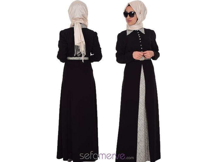 Kemerli Elbise 6383-01 Siyah Gri #sefamerve #tesetturgiyim #tesettur #hijab #tesettür