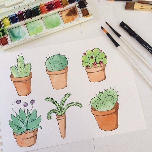 art, cactus, drawing, paint, plants, sketchbook, tumblr, watercolor