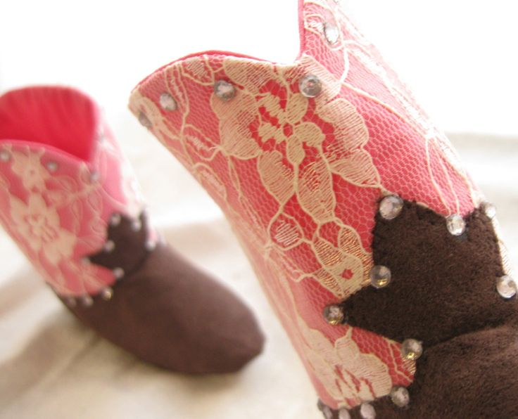 Pink Lace Baby Cowgirl Boots with Bling
