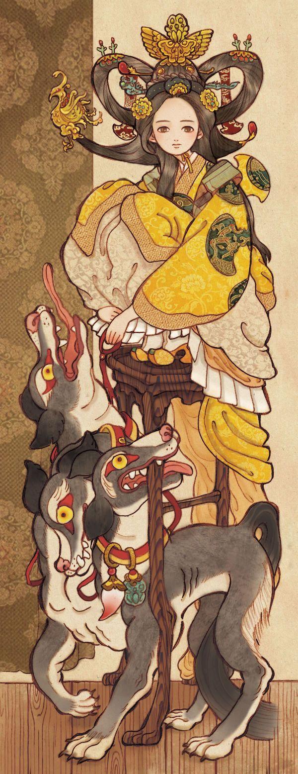 켈베로스는 그리스 신화에 등장하는 지옥의 파수꾼개. 반인반사의 괴물 에키드나와 전능한 신 제우스를 괴롭힌 괴물 티폰사이의 아들이다.  세 개의 머리를 가진 사냥개의 모습으로 지옥의 왕 하데스를 위해서 허가 없이 지옥에 들어오려고 하는 자나,  거기서 도망치려고 하는 자를 감시하고 있다.  페르세포네는 하데스에게 납치당해 그의 비가 되었으나 제우스의 제정으로 1년의 3분의 1은 저승에서 보내고,  잔여기간은 모친과 함께 보내는 여신 데메테르의 딸이다.