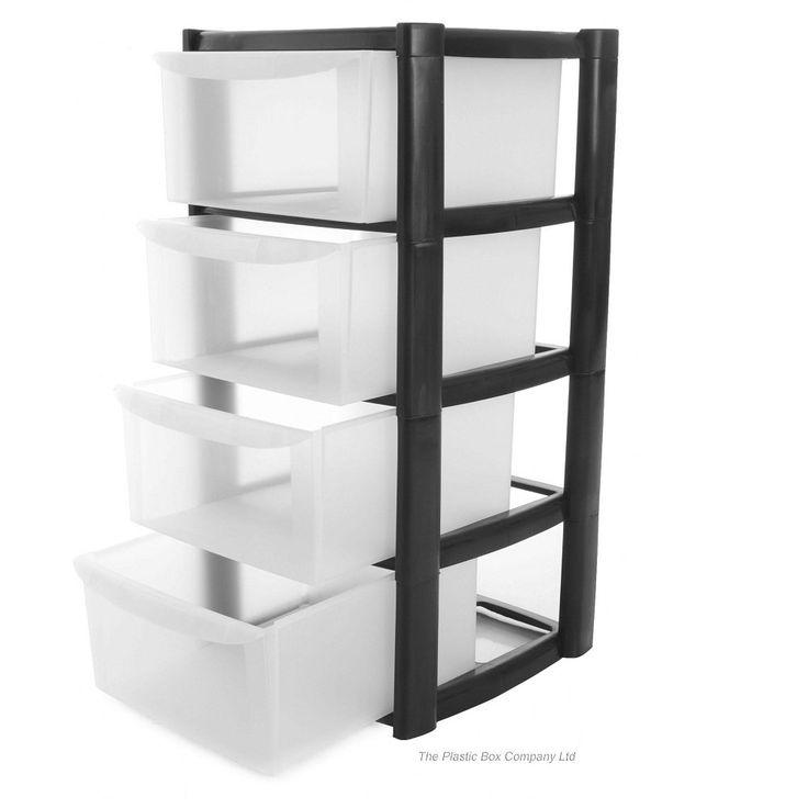 Buy 4 Drawer Plastic Storage Tower Unit | 4 Tier Plastic Storage ...