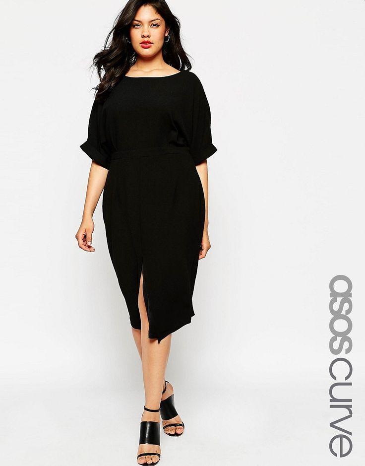 Мода для полных весна-лето 2016 черное платье карандаш.