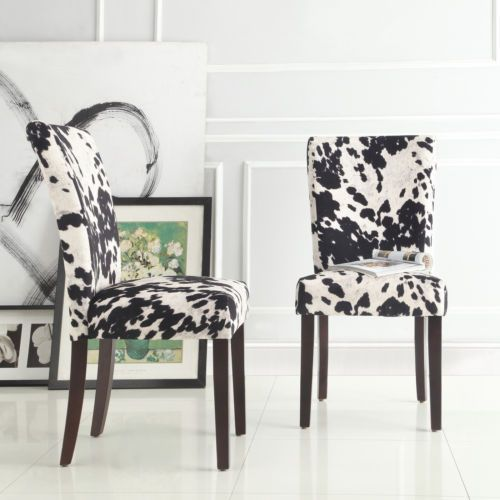 faux cow hide animal print accent dining chair set 2 black new ebay