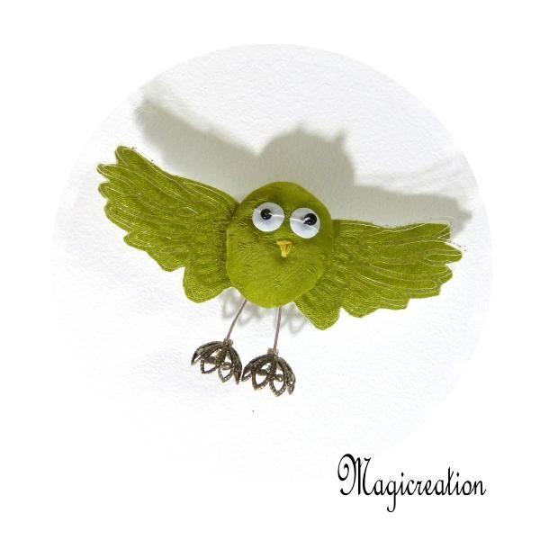 MAGNET OISEAU SOIE VERT TILLEUL - Boutique www.magicreation.fr