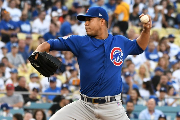 October 19, 2017:  NLCS Game 5: Dodgers at Cubs, game time, TV info and starting pitchers.    Chicago Cubs starting pitcher Jose Quintana throws to the plate during the first inning of Game 1 of the National League Championship Series on Saturday at Dodger Stadium. He will take the ball again for Game 5 at Wrigley Field. (Photo by Keith Birmingham, Pasadena Star-News/SCNG)