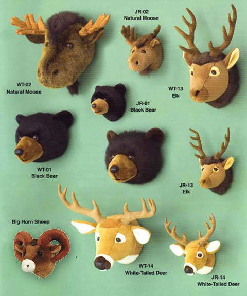 plush wildlife head mounts we already own the the deer in the bottom middle nurseries. Black Bedroom Furniture Sets. Home Design Ideas