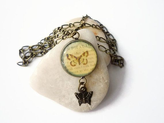 Vintage letter necklace, butterfly pattern antique pendant necklace with butterfly charm by treasurecreator, $13.00