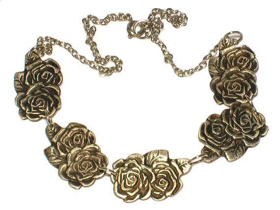 Romantische ketting met zilveren rozen van JackysJewels op Etsy