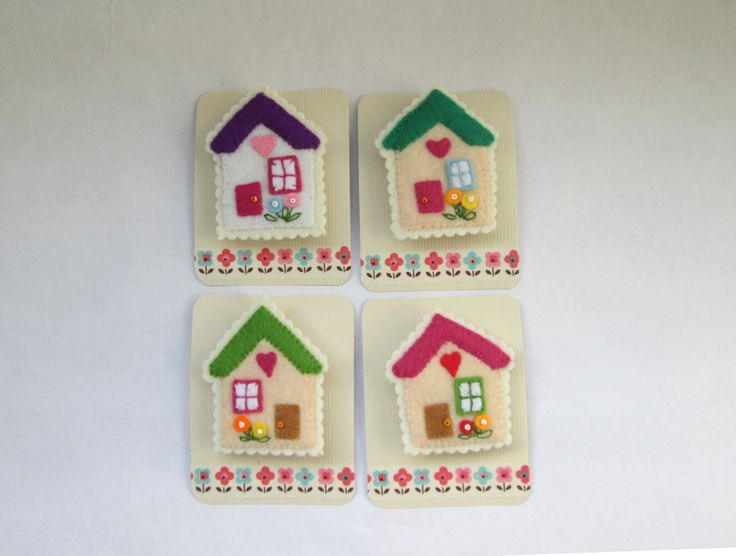 Felt house brooch hand-stitched brooch miniature by RALOOLAND