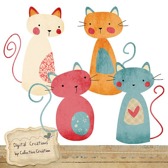 Cute Kitty Cat Digital Clip Art  Perfect for by CollectiveCreation, $4.00
