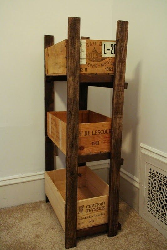 Wine Crate Bookshelves Part - 40: Sweet Inspired Home: Wine Crate Shelf For Fabric Storage