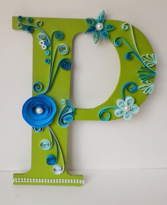 Quilled Green Letter P Hand Quilled on Wood by MyLittleShopOnline
