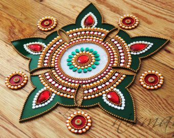 Green Purple Rangoli Kundan Rangoli Bollywood inspired by Nirman