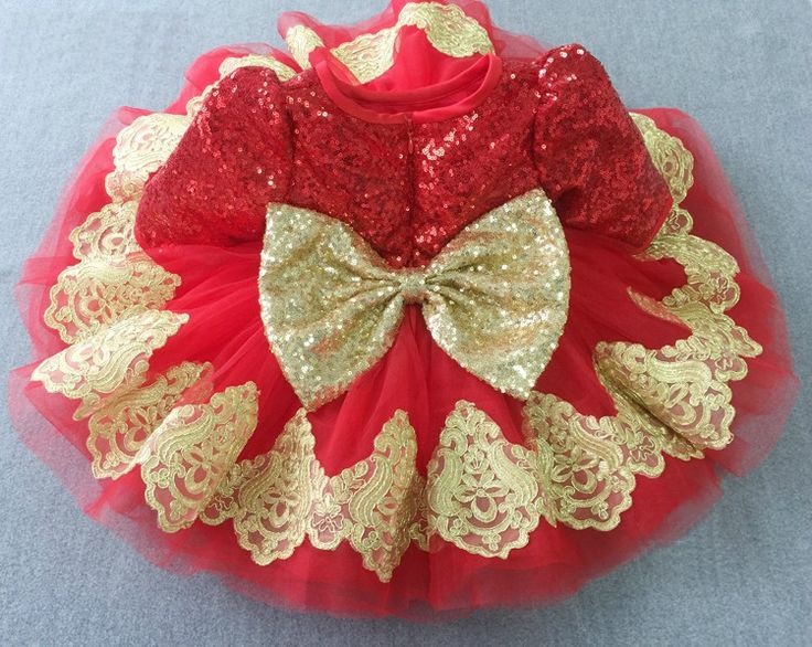 Gold & Red Long Sleeve Embroidered Sequin Baby Toddler Little & Big Girl Tutu Dress - Perfect for birthday, wedding or any special occasion - Available from Newborn - 15 Years. Material: Sequin, lace, tulle mesh, purified cotton lining. #babygirlbirthdayoutfit #littlegirlsequindress #redsequinlacedress #embroideredpartdress #redbigbowlittlegirlpartydress
