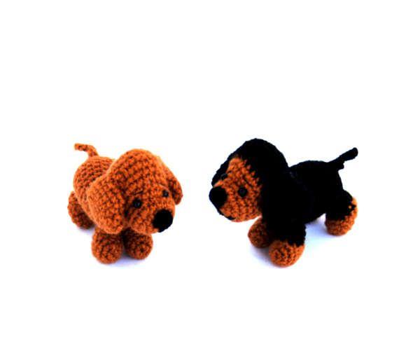 $23.64 crochet dachshund, tiny stuffed pet, little amigurumi #dachshund, tiny pet, crochet toy, little dachshund doll, cute gift for #doglovers, #funnygift by crochAndi