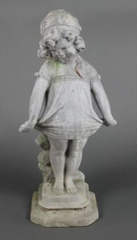 """Lot No 446 A lead figure of a standing girl 18""""h, sold for £160"""