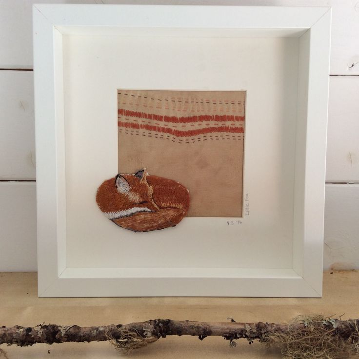 Little Fox. Hand embroidered on hand dyed and hand stitched background. www.violetshirran.com