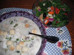 Jaques Pepin's  Seafood Chowder (with shrimp, fish, potato flakes, leeks, celery, mushrooms, zucchini)