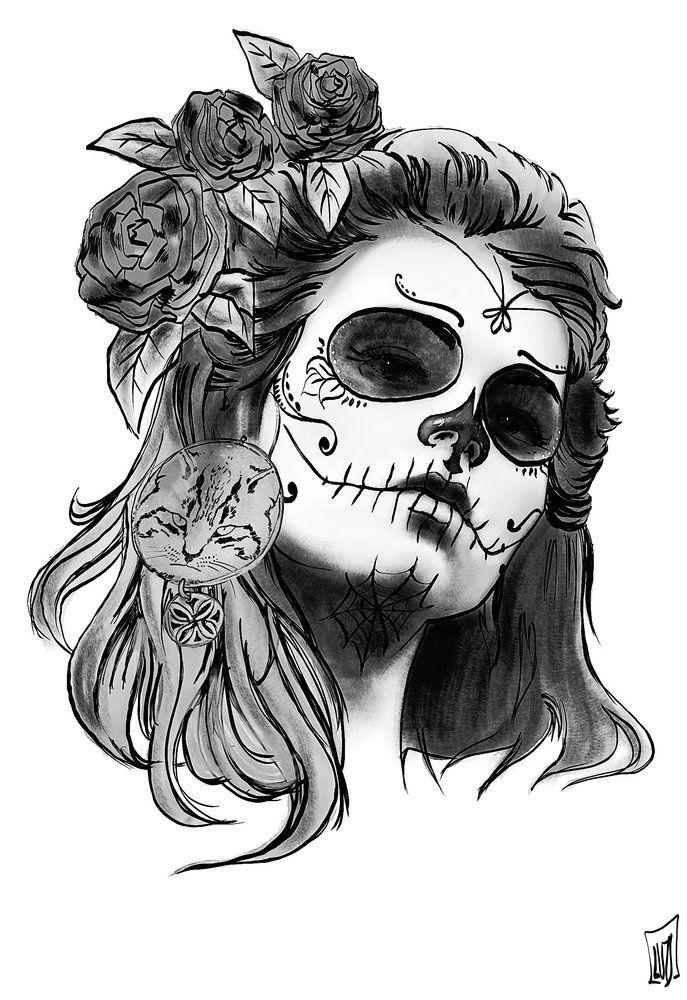 Resultado de imagen para chicas del dia de los muertos dibujos