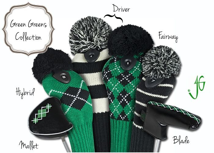 NEW! Mix and match knit golf club head covers in green and black. Great for men and women! | Golf4Her