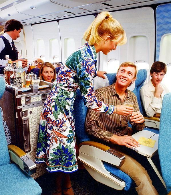 Qantas vintage colorful uniforms
