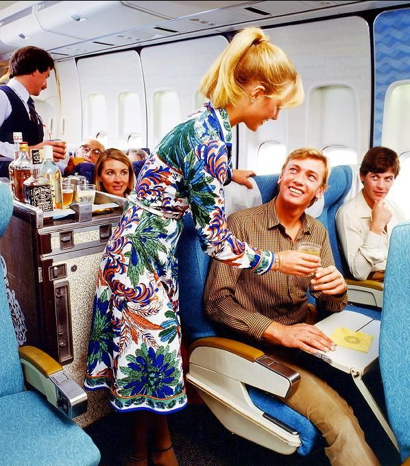 Qantas vintage colorful uniforms