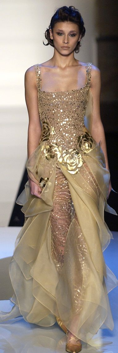 This gown is like a Fairyland, golden roses, shimmering webs, wisps of candlelight colored fabric, and a twinkling bodice fit for a queen. Elie Saab