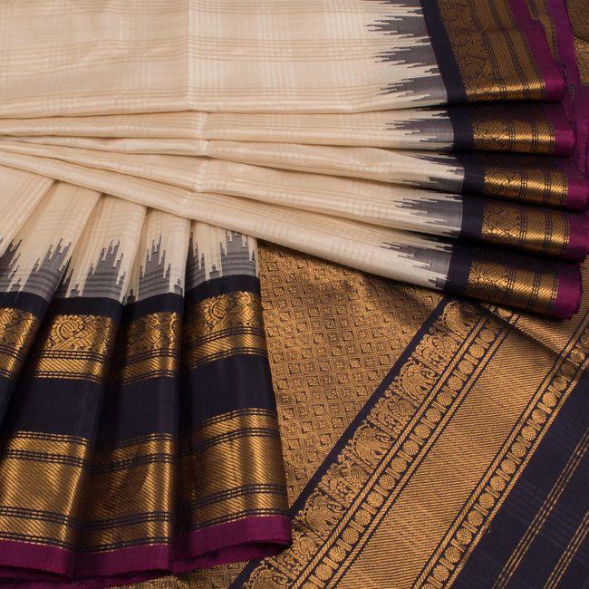 Buy online Handwoven White Gadwal Kuttu Silk Saree With Temple Border 10015038