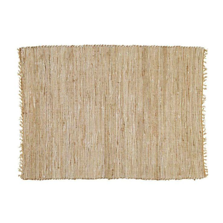 Tappeto intrecciato beige in cotone e iuta 160 x 230 cm LODGE