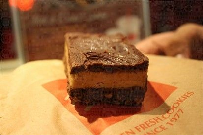 Mrs Fields Peanut Butter Dream Bars...trying this to use up some stale cookies, yum!