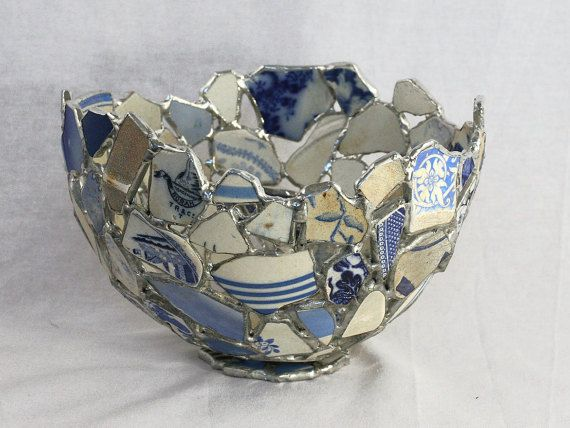 Sea Pottery Blue White Bowl Sea Glass Art by SaraLeGrisCreations