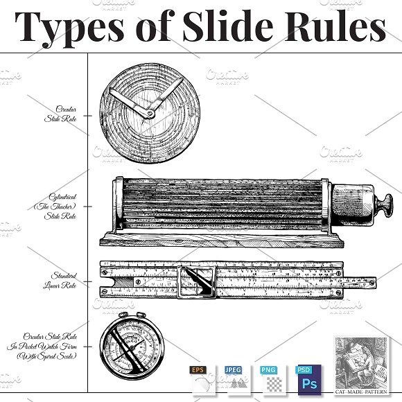 Types of slide rules by CatMadePattern on @creativemarket