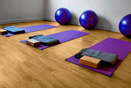 Beautiful loose lay in yoga studio! www.evolvedluxuryfloors.com.au Evolved Luxury Floors
