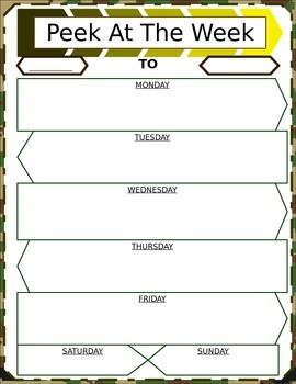 Jungle camouflage detailed student agenda/Peek at the Week. Can edit font's, colors and clip art once downloaded to Word. Great way to help teach your student to complete assignments easily and on time.